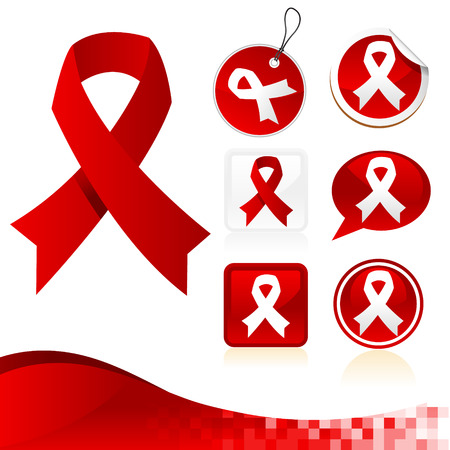 awareness ribbons: Set of red awareness ribbons
