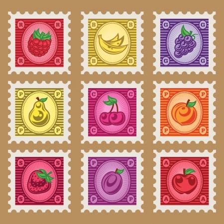 Vintage set van kleurrijke fruit postzegels