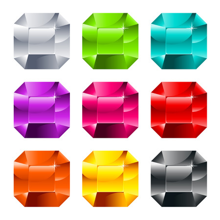 Set of colorful shiny jewels isolated on white Stock Vector - 22704930