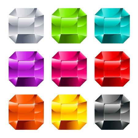 Set of colorful shiny jewels isolated on white Illustration