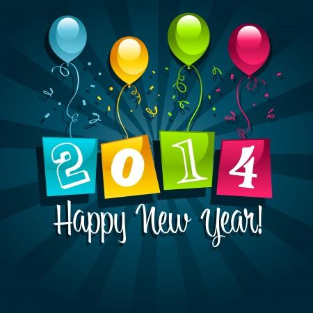 globos de fiesta: Colorful 2014 tarjeta de a�o nuevo con coloridos globos de fiesta