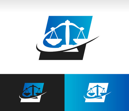firm: Balance scale icon with swoosh graphic element
