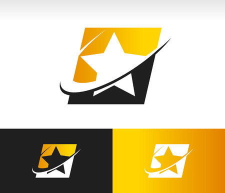 star rating: Star shape icon with swoosh graphic element Illustration