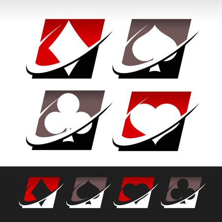 Pokerspel pictogrammen met swoosh grafische elementen Stock Illustratie