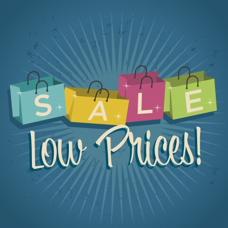 low prices: Retro shopping bags illustration with low prices Illustration