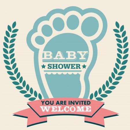 pied fille: douche carte de voeux d'invitation de bébé avec empreinte Illustration