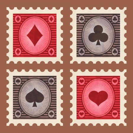Set of retro poker game stamps