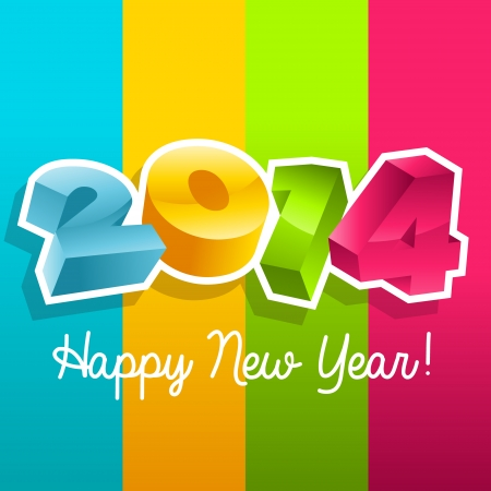 Colorful new year 2014 greeting card Ilustrace