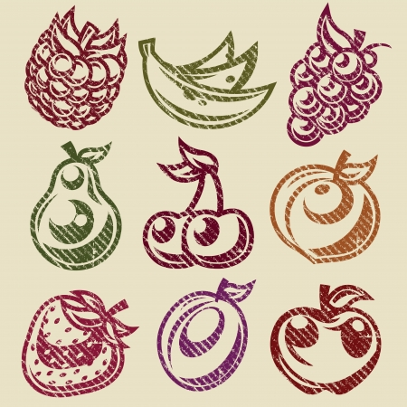 Grunge set van vruchten en bessen postzegels iconen