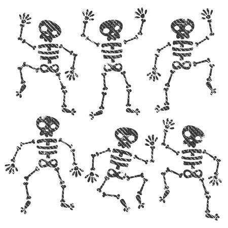 Set of grunge dancing skeletons Vector