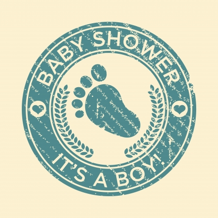Baby boy shower rubber stamp with footprint icon Vector