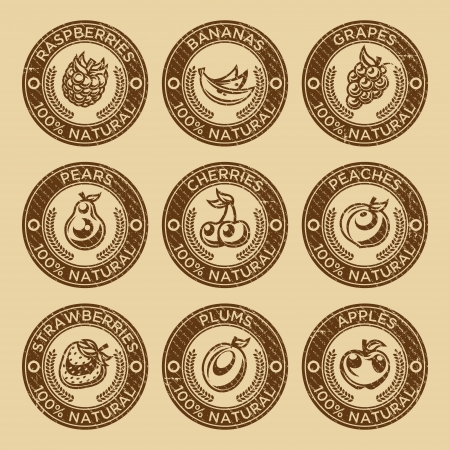 Set of fruits and berry rubber stamp icons Çizim