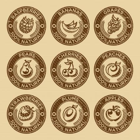 Set van groenten en bessen rubberen stempel iconen
