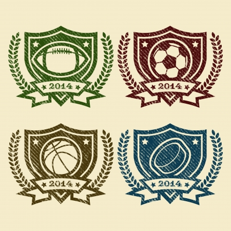 Set of rubber stamp emblems with sport balls icons Vector