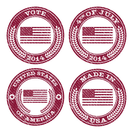 Set of grunge patriotic flag rubber stamp icons Vector