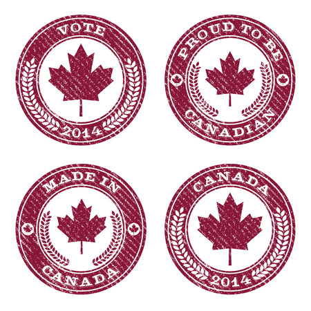 canada stamp: Set of grunge Canada maple leaf rubber stamp icons