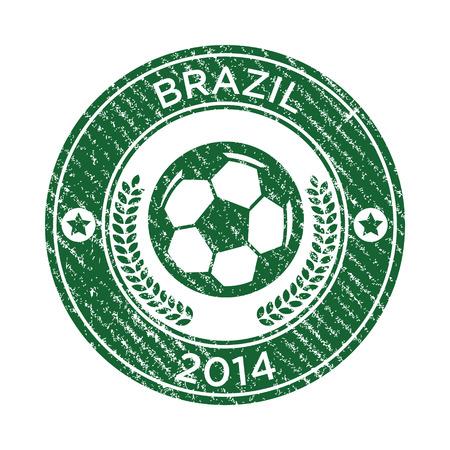 Grunge Brazil soccer rubber stamp emblem