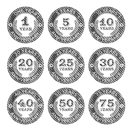 5 10 years old: Set of grunge anniversary emblem rubber stamps