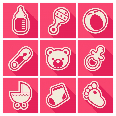 Set of pink baby shower icons Vector