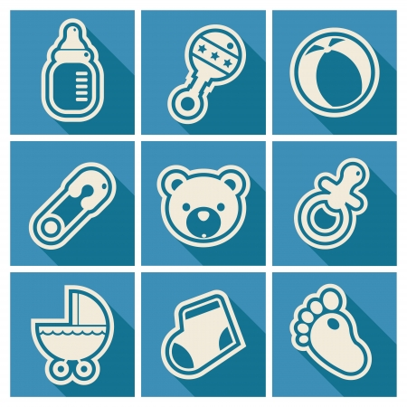 icons: Set of blue baby shower icons