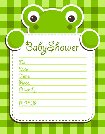 baby announcement card: Cute frog holding a baby shower invitation card