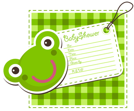 Baby shower invitation with cute frog Illustration