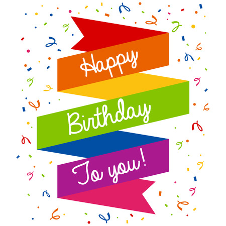 Happy birthday colorful greeting card