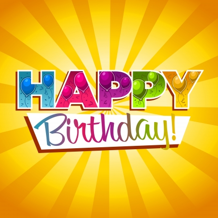 Colorful birthday greeting card with balloons and confetti Vettoriali