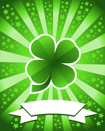 Saint Patrick s Day background with green clover Vector