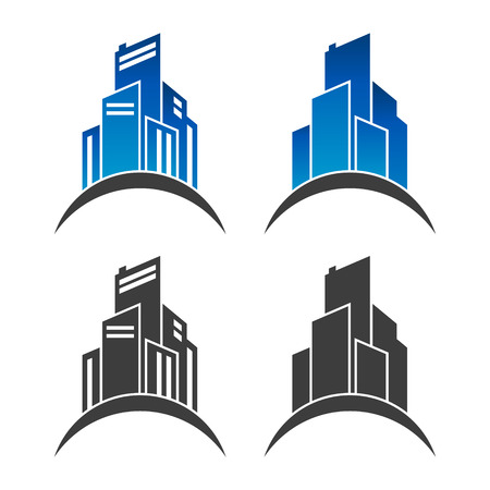 commercial real estate: Real estate building icons isolated on white background