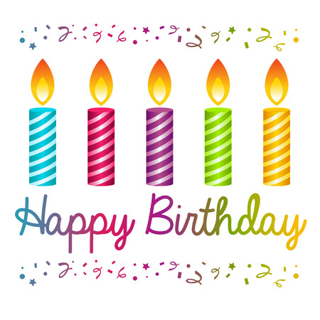 festive: Colorful birthday card with candles