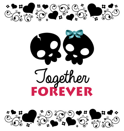 St Valentines day greeting card with skulls