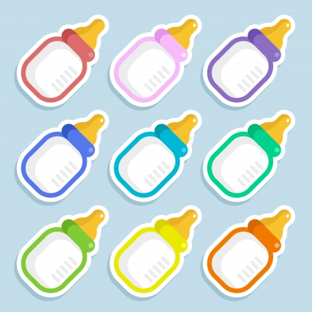 Set of colorful baby milk bottles Stock Vector - 25426763