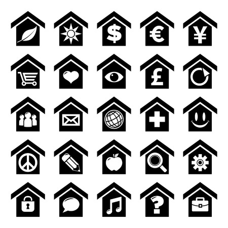 home icon: Set of home icon concepts with various symbols