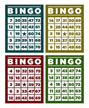 レトロなビンゴのカードのセット  イラスト・ベクター素材