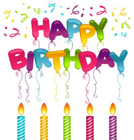 velas de cumpleaños: Tarjeta de cumpleaños con velas y globos Vectores
