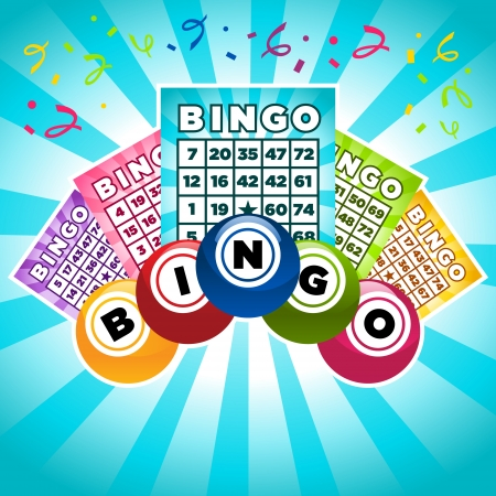bingo: Colorida ilustraci�n de tarjetas de bingo y bolas Vectores
