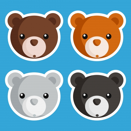 Set of cute baby bear icons Vector