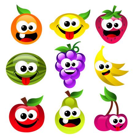 Conjunto de diversión sonriente frutas de la historieta Foto de archivo - 25426771