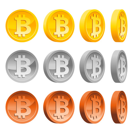 Set of shiny gold silver and copper bitcoins