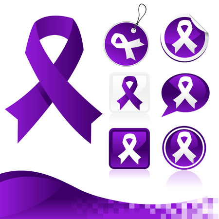 awareness ribbons: Set of purple awareness ribbons for various causes