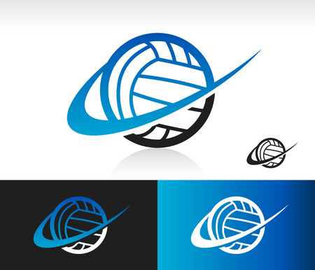 Volleyball icon with swoosh graphic element Vectores