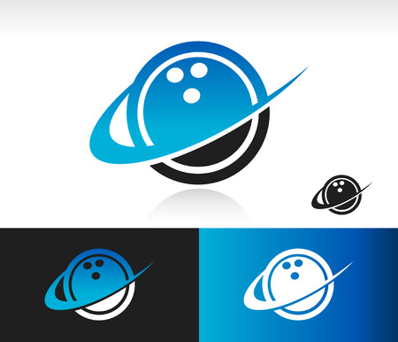 Bowling ball icon with swoosh graphic element