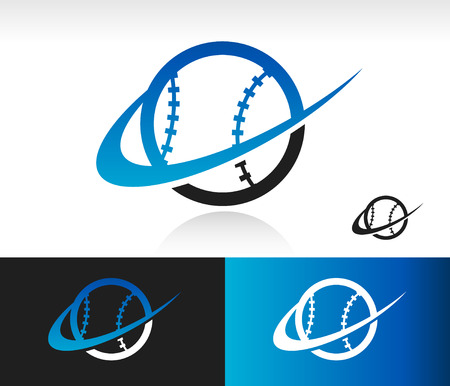 Baseball icon with swoosh graphic element