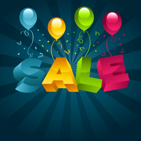 business event: Colorful sale illustration with party balloons