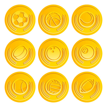 puck: Set of shiny gold coins with sport balls icons