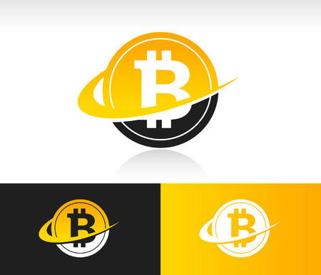 gold mining: Bitcoin icon with swoosh graphic element Illustration
