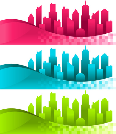 Set of colorful silhouette cities and banners