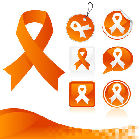 awareness ribbons: Set of orange awareness ribbons for various causes