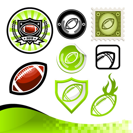 Design kit of emblems and icons with American footballs Vector
